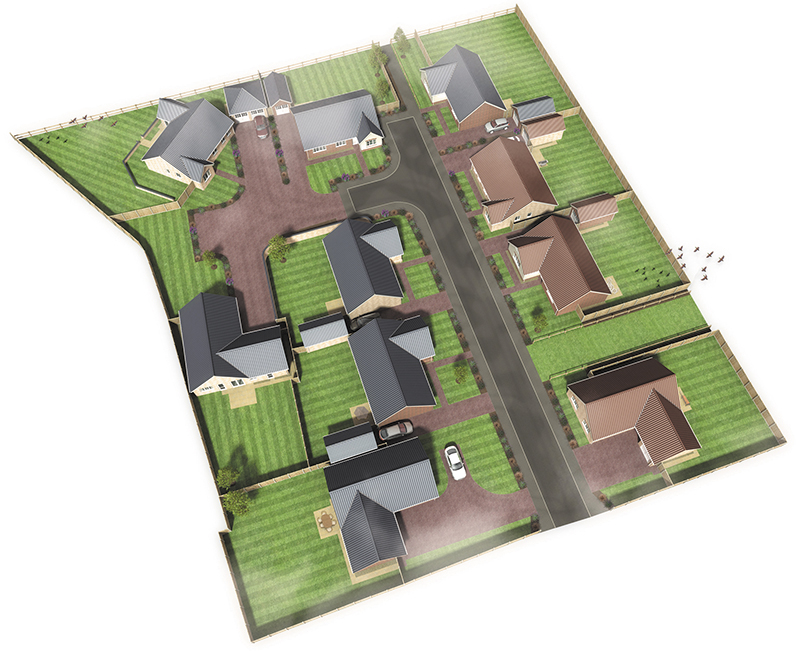 Computer generated aerial view of The Meadows development