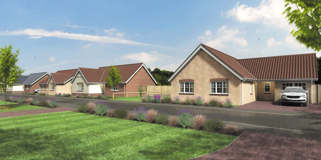 Artist impression of The Meadows street scene showing new 3 bedroom bungalows