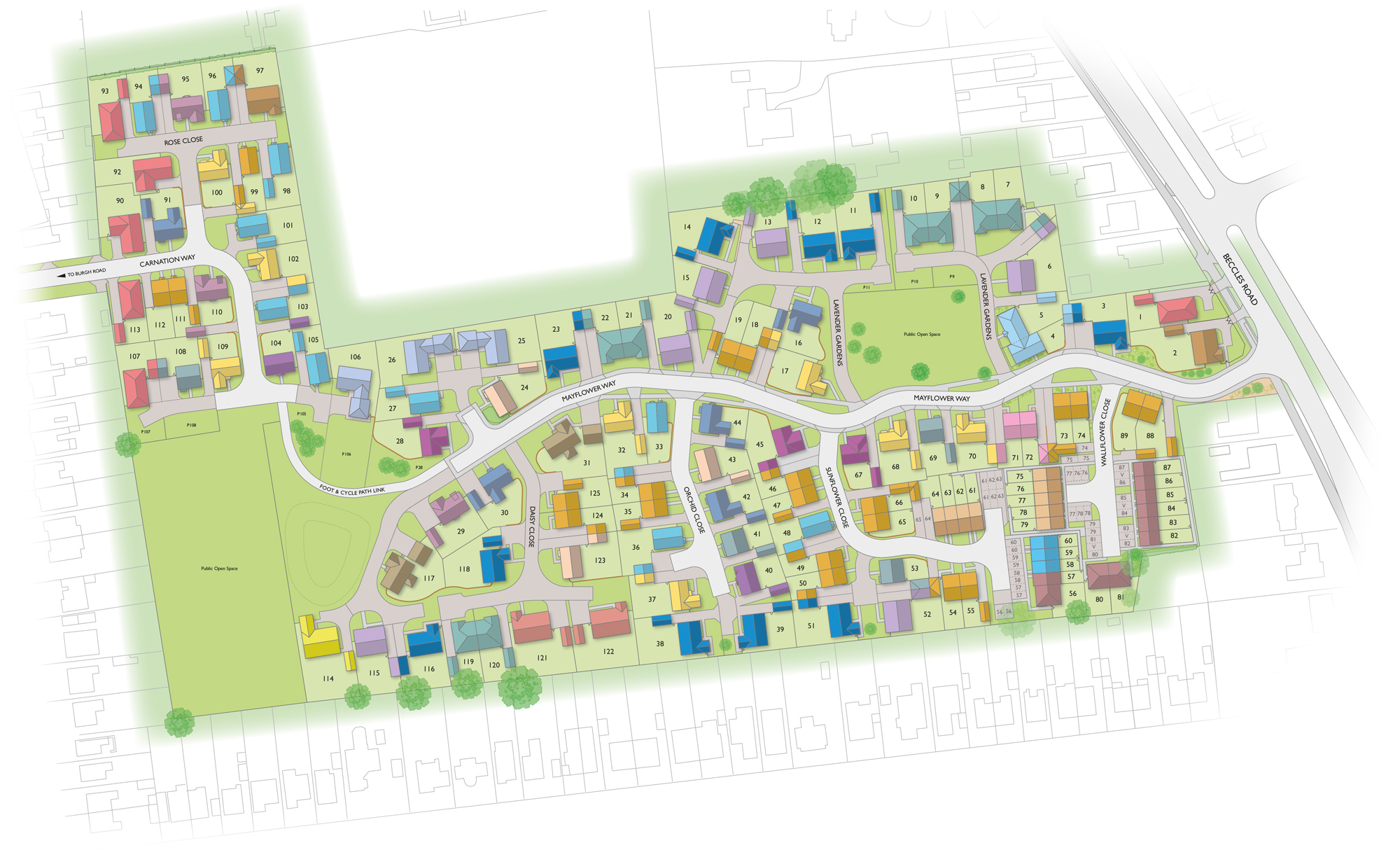 Badger Building Claydon Park site plan illustration showing plot layouts and house types